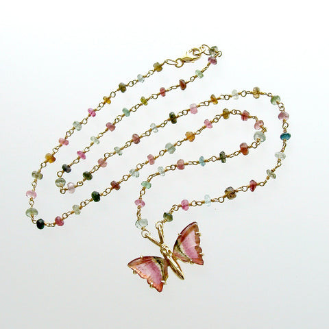 #1 Le Papillon X Necklace - Tourmaline Watermelon Tourmaline Butterfly Pendan