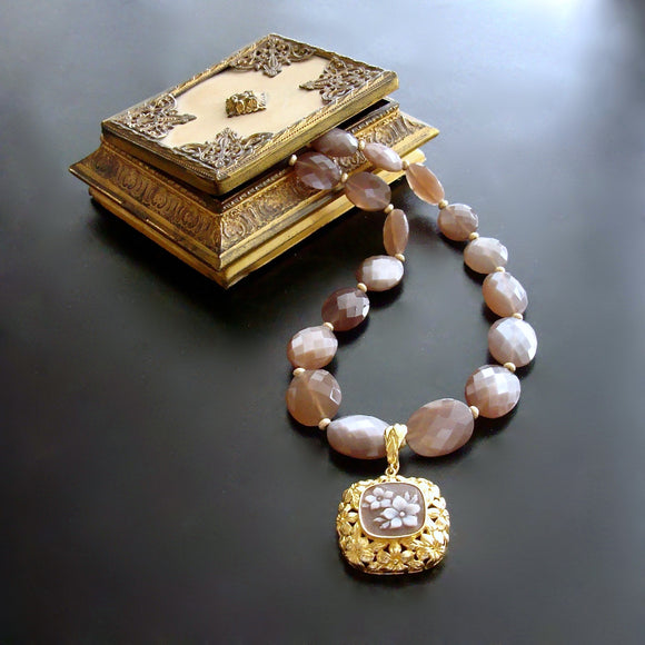 #6 Abagail Necklace - Brown Moonstone Sardonyx Cameo Pendant