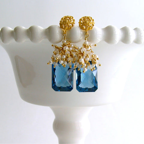 #1 Dione IV Earrings - London Blue Topaz Seed Pearl Moonstone Cluster Earrings