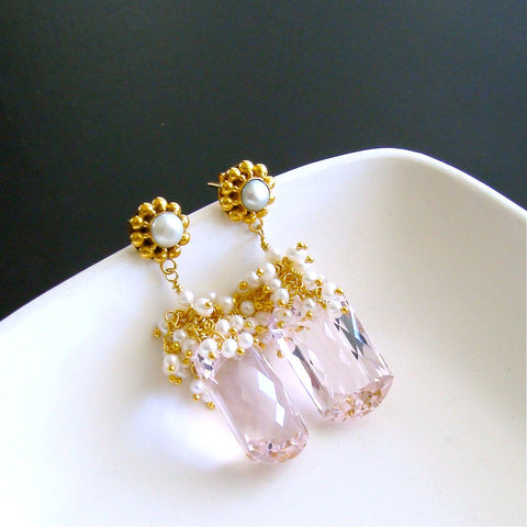 #2 Marisol Cluster Earrings - Pink Topaz Seed Pearls
