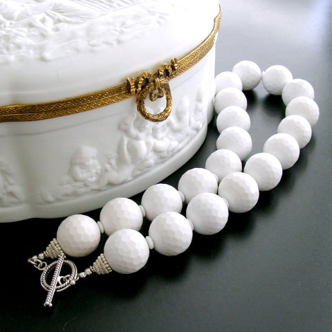 #1 Blanca Necklace - 20mm White Agate Golfballs