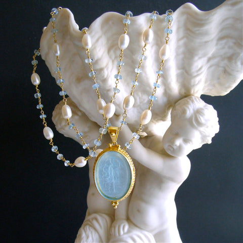 #2 Matera Necklace - Aquamarine Freshwater Pearls Aqua Intaglio Necklace