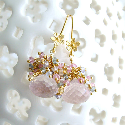 #2 Juliet Earrings - Rose Quartz Sapphires