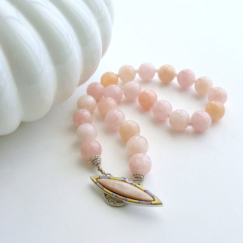 #3 Dahlia III Necklace - Morganite Beryl Pink Zircon MOP Opal Necklace