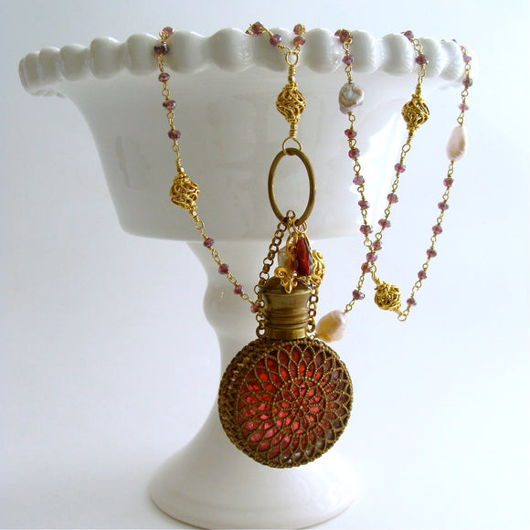 #2 Alora Necklace - Garnet Pearl Necklace Victorian Filigree Chatelaine Scent Bottle