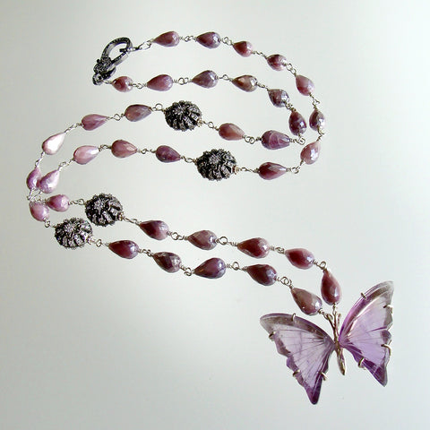 #1 Le Papillon XIII Necklace - Amethyst Butterfly Silverite White Topaz