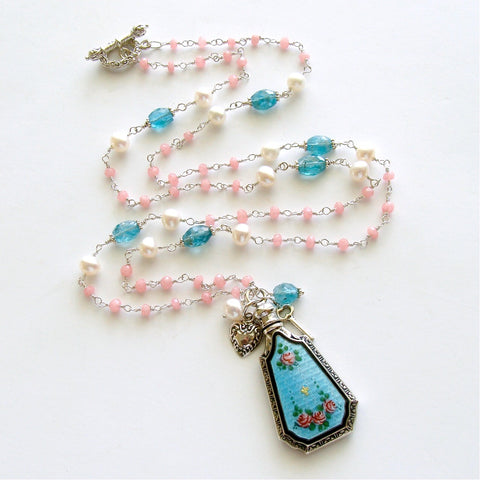 #1 Adaline Necklace - Pink Agate Apatite Pearls Guilloche Scent Bottle
