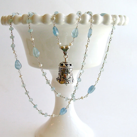 #5 Key to Your Heart Necklace - Aquamarine Sterling Silver Heart Bell Pendant