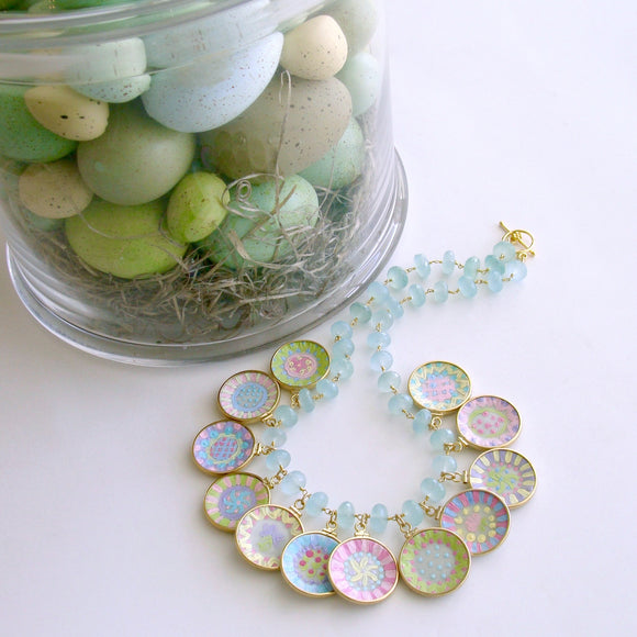 #4 China Doll Whimsical Cottage Necklace - Seafoam Chalcedony Miniature Plates