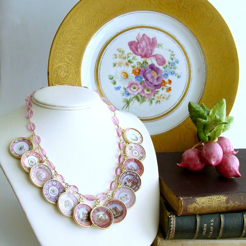 #2 China Doll Pink Necklace  Pink Quartz Pink Plates