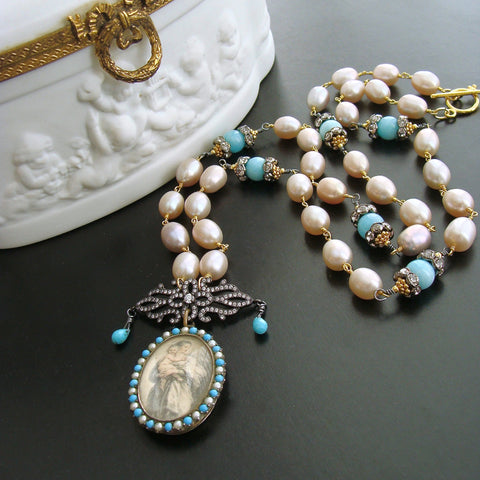 #5 Madonna and Child Necklace - Pearls Turquoise Amazonite Victorian Mourning Locket