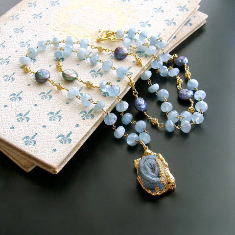 #2 Roisin Layering Necklace - Aquamarine Coin Pearls