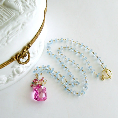#2 Delphine II Necklace - Pink Topaz Blue Topaz Emerald Citrine Rose Quartz