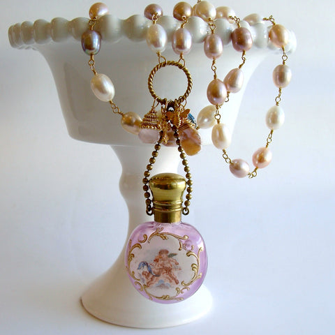 #3 Violetta Necklace - Pink Pearls Cherub Scent Bottle Necklace