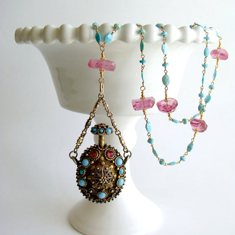 #3 Ainsley Necklace - Turquoise Pink Topaz Austro Hungarian Chatelaine Scent Bottle