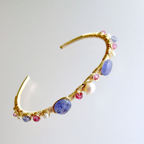 #1 Emeline Stacking Bracelet - Tanzanite Pink Topaz Pearls