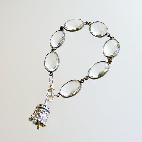 #1 Key to Your Heart Bracelet - Rock Crystal Sterling Silver Heart Bell Charm