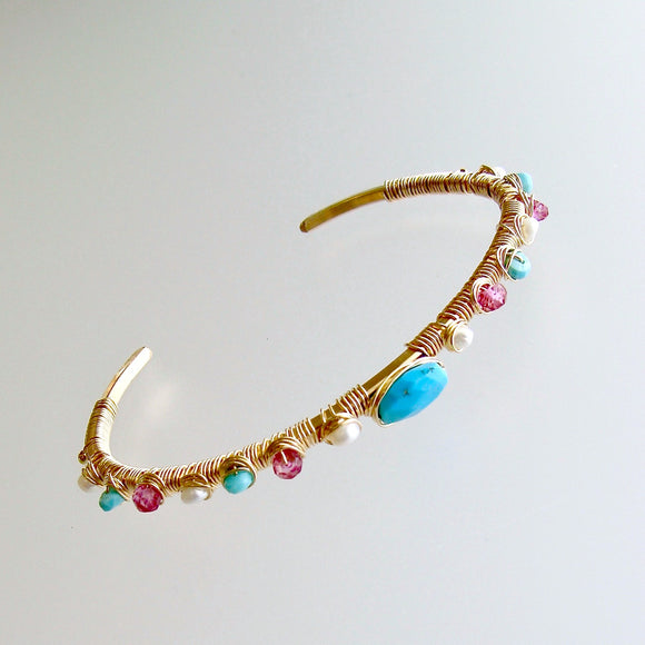 #1 Ainsley Stacking Bracelet - Turquoise Pink Topaz Seed Pearls