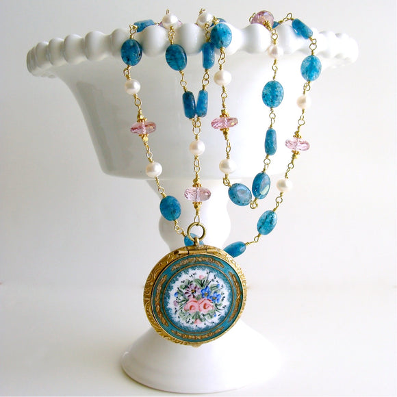 #3 Rosaline Necklace - Apatite Pink Topaz Enamel Locket