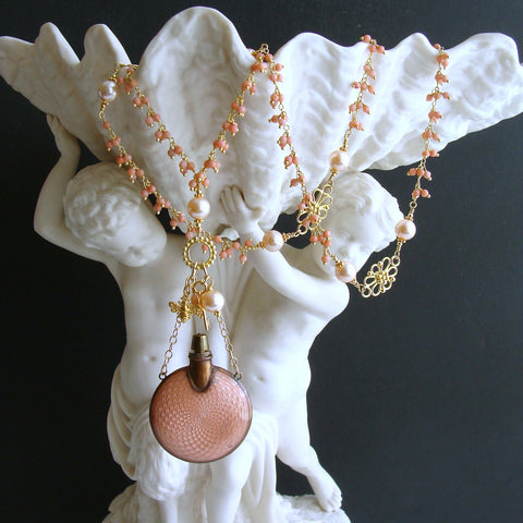 #2 Aline Necklace - Coral Filigree Guilloche Chatelaine Scent Bottle
