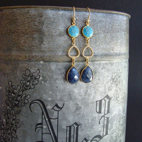 #2 Angie Earrings - Turquoise Blue Sapphire Pave Topaz Earrings