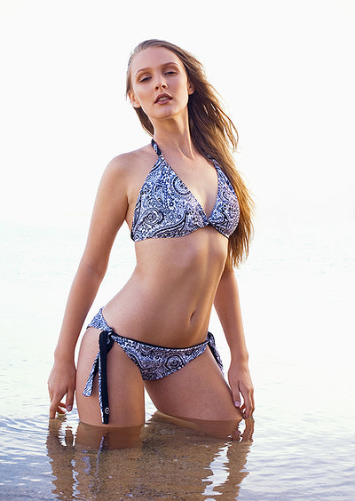 Hand Stitched Reversible Black and Paisley - Jini® bikini piece