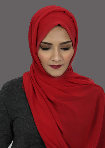 Red Stretch-Georgette Hijab