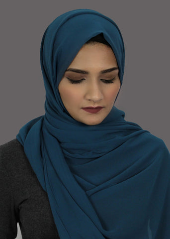 Turquoise Stretch-Georgette Hijab
