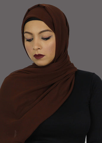 Brown Stretch-Georgette Hijab