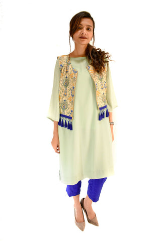 Plain Kurta With Jacket + Pants