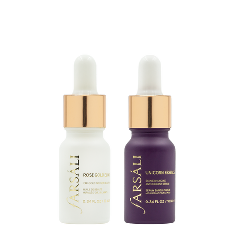 Farsali Holiday Bundle consists of Unicorn Elixir and Rose Oil to primer,protect and enhance your skin before makeup.
