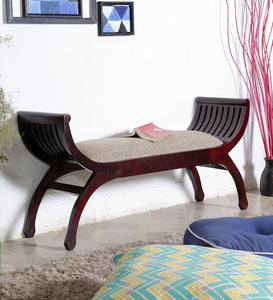 Lotus Shaped Rajasthani Crafted Wooden Two Seater Bench