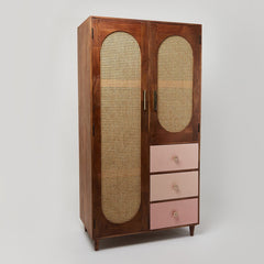 Rattan Solid Wood Wardrobe