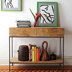 Sheesham Wood Console Table With Iron Frame - Lakkadhaara