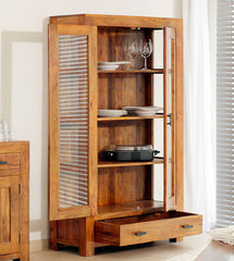Solid Wood Bookshelf / Display Unit With 2 Doors
