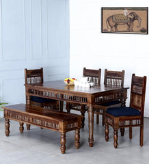 Ghirni Solid Wood 6 Seater Dining Table Set