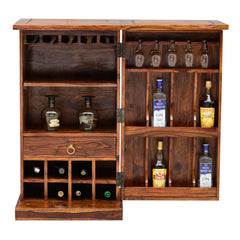 Solid Wood Bar Cabinet With Brass Work & Single Door
