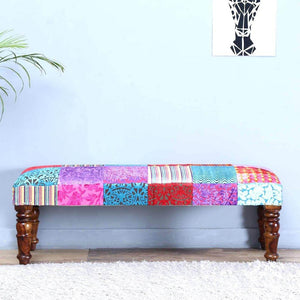 Jodhpuri Two Seater Bench Assorted In Patch Work Fabric - Lakkadhaara