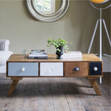 Albany Solid Wood Mango Coffee Table With Four Drawers