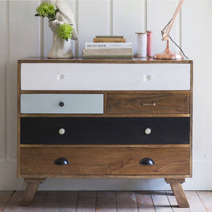 Burnie Solid Wood Mango Five Chest Of Drawers - Lakkadhaara