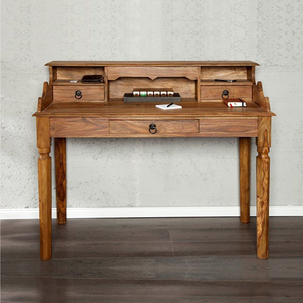 Jaipur Solid Wood Study Table With Three Drawers - Lakkadhaara