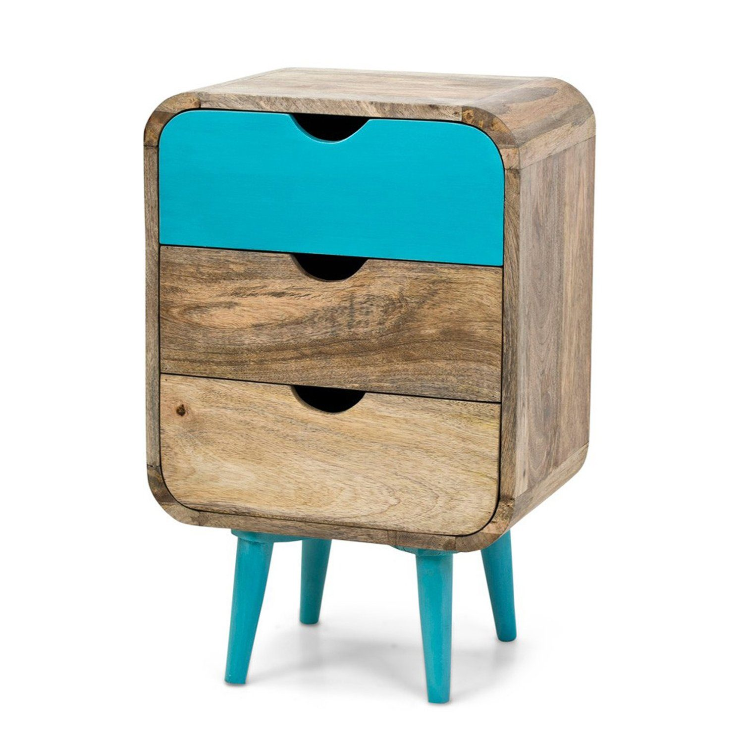 Benalla Solid Wood Bed Side Table With 3 Drawers - Lakkadhaara
