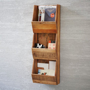 Cannes Solid Wood Magazine Holder In Mango Distress Finish - Lakkadhaara