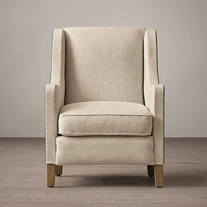 Ararat Wing Chair In Beige Colour - Lakkadhaara