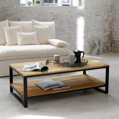 Calais Solid Wood Industrial Center Table - Lakkadhaara
