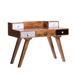 Albany Solid Wood Study Table With Five Drawers - Lakkadhaara