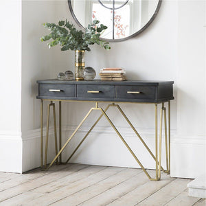Console Table In Black & Golden Finish