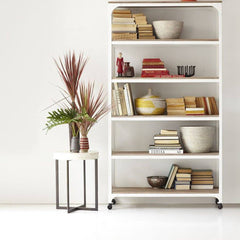 Armadale Solid Wood Bookcase With Iron Frame In Stain & White Finish - Lakkadhaara