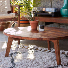 Puerto Solid Wood Round Coffee Table - Lakkadhaara