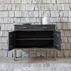 Benalla  Sideboard Cabinet With Two Doors & Drawers In Black Finish - Lakkadhaara
